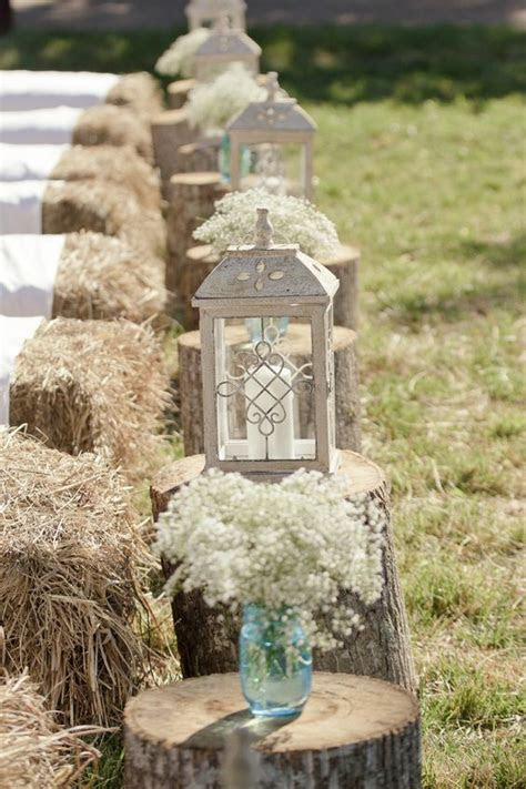 hay bale seating  covers lanterns babys breath