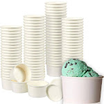 200-Piece Disposable Ice Cream Cups, Sundae Paper Bowls for Dessert Yogurt, Party Supplies, 8-Ounce, White