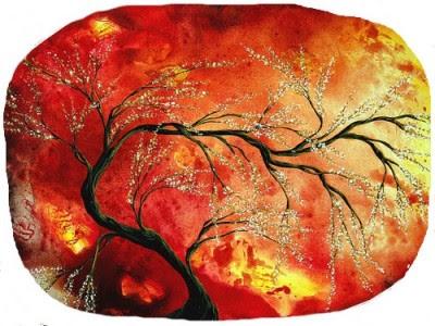 sasso dipinto,sasso dipinto tramonto nella vegetazione,come dipingere un sasso,fai da te