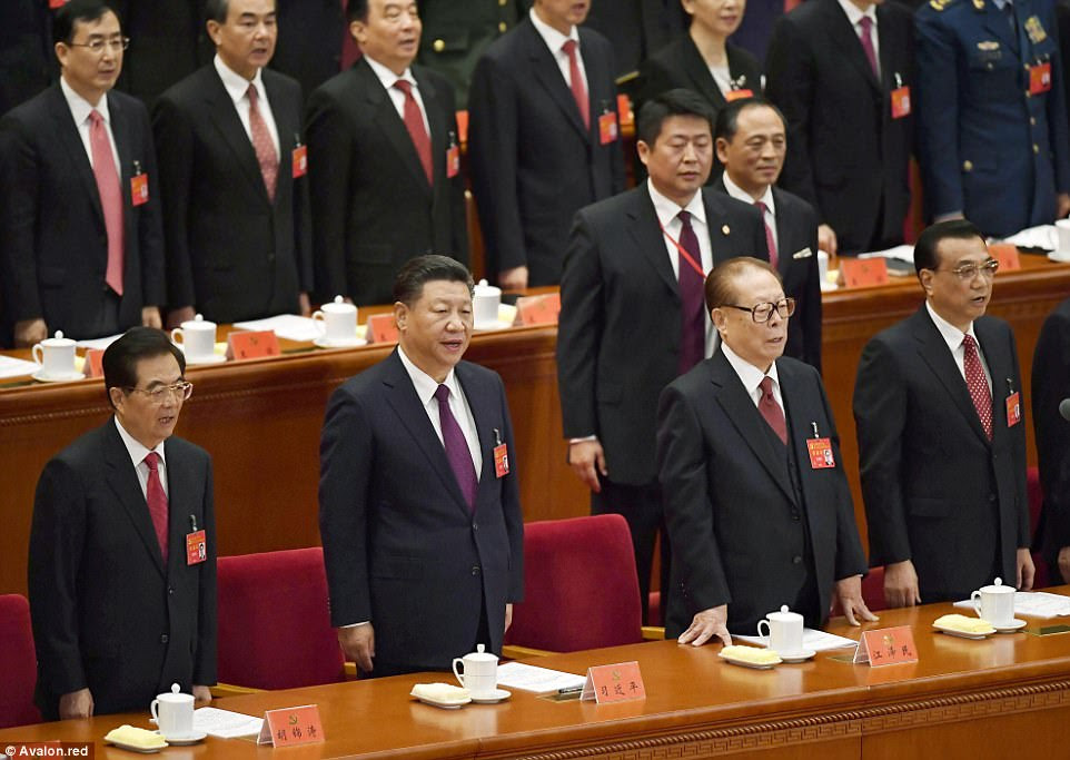 Former President Hu Jintao, President Xi Jinping, former President Jiang Zemin at China's Congress  (from left to right)
