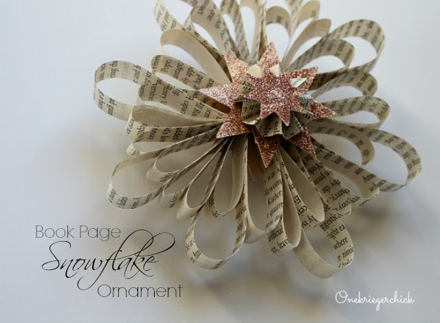 Book Page Snowflake ornament I Onekriegerchick