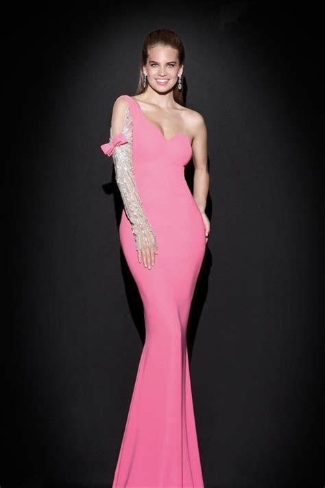 Sheath One Shoulder Sleeved Pink Satin Evening Prom Dress