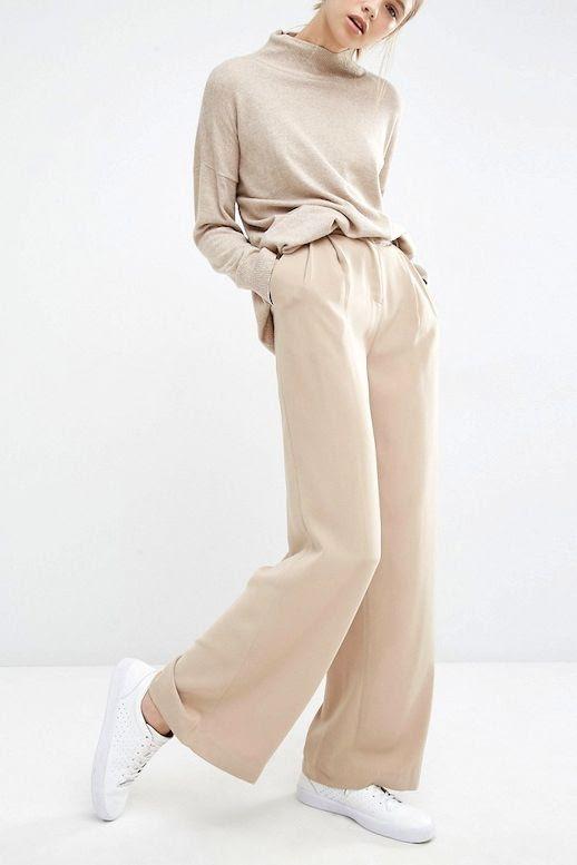 Le Fashion Blog Neutral Work Style Oatmeal Turtleneck Knit Tan Wide Leg Pants White Shoes