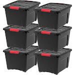 Iris 32 Quart Stack & Pull Box, 6 Pack, Black
