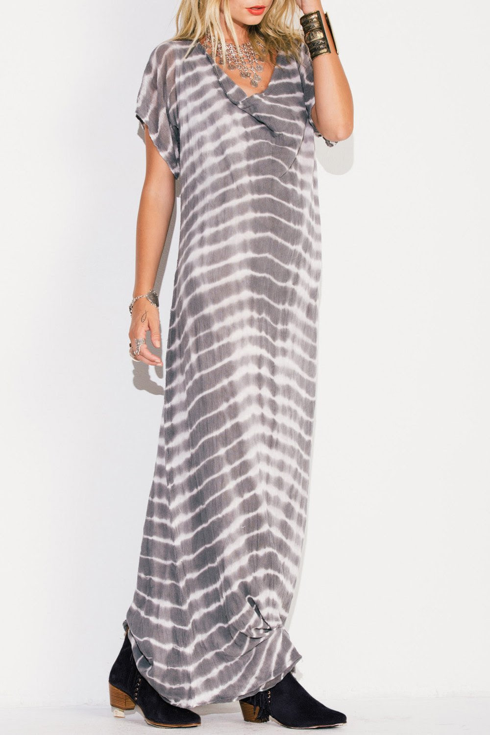 Striped V Neck Short Sleeve Maxi Dress