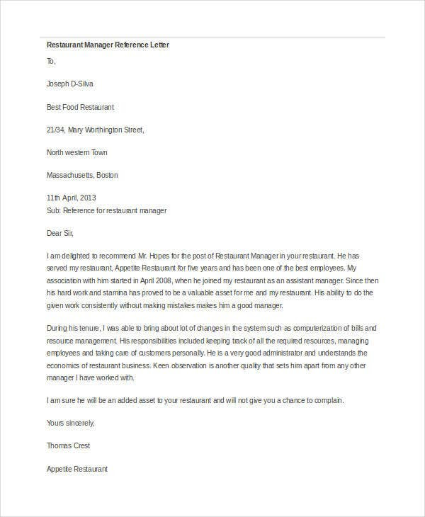 Manager Reference Letter Templates 7 Free Word Format