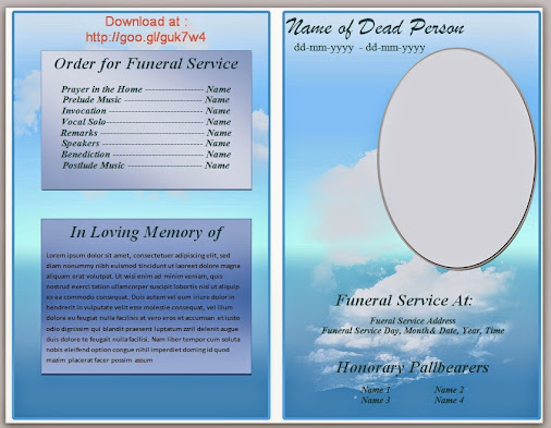 Blue Cloud Funeral Program Template In Microsoft Word 2007, 2010 To ...