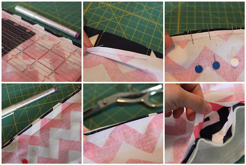 sewing in straps, leave opening for turning steps