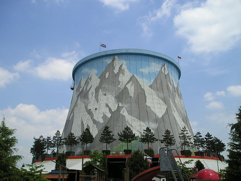 cooling tower used as climbing wall in wunderland kalkar