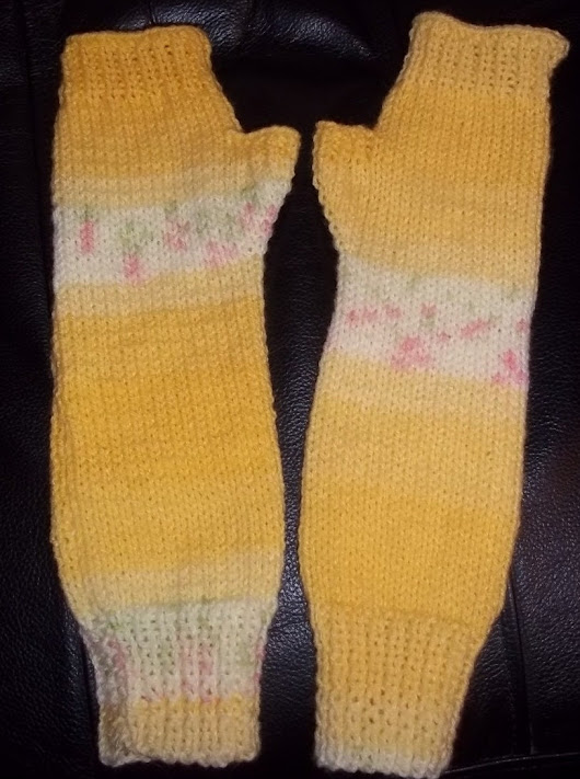 Hand Knitted Handwarmers Armwarmers in Yellow Fair Isle Effect