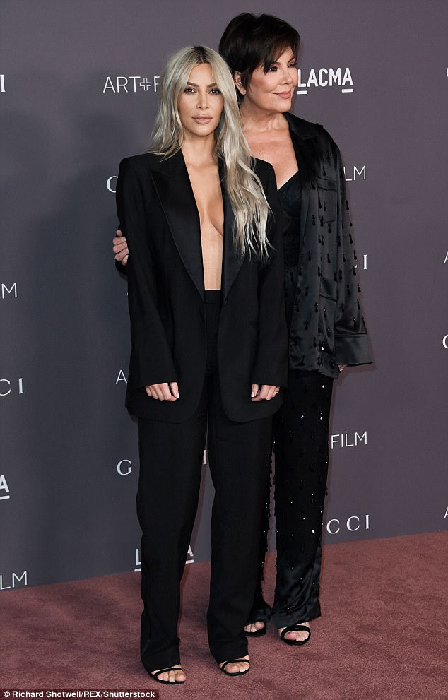 Two peas in a pod: She was joined by her eternally glamorous mum, Kris