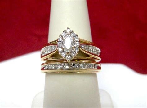 14K YELLOW GOLD 1.35CTW DIAMOND WEDDING MARQUISE