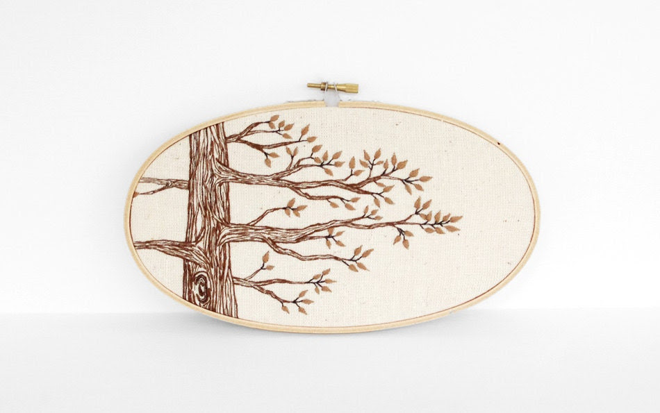 "Hand Embroidery Tree Art in Brown and Natural Tan. Neutral Botanical Embroidery Hoop Wall Art 5""x9"". Embroidered Fiber Art Wall Hanging - sometimesiswirl"