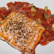 Seared Salmon with Zucchini Pisto
