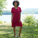 Women's Short Sleeve Clip Dot Dress - Knox Rose Red