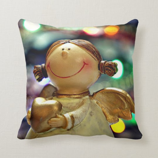 Christmas Angel and Colored Lights Throw Pillow