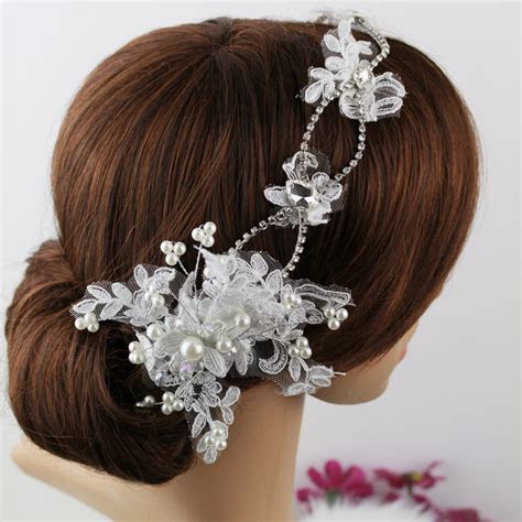 lace bride hairbands pearl bridal headpiece hair accessory