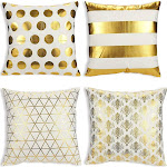 Juvale Throw Pillow Covers - 4-Pack Gold Decorative Couch Throw Pillow Cases Girls Woman, Modern Home Décor Cushion Covers, Gold Foil Pattern Prints