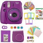 Fujifilm Mini 9 Instant Camera with Clear Accents (Purple) with Film Gift Bundle