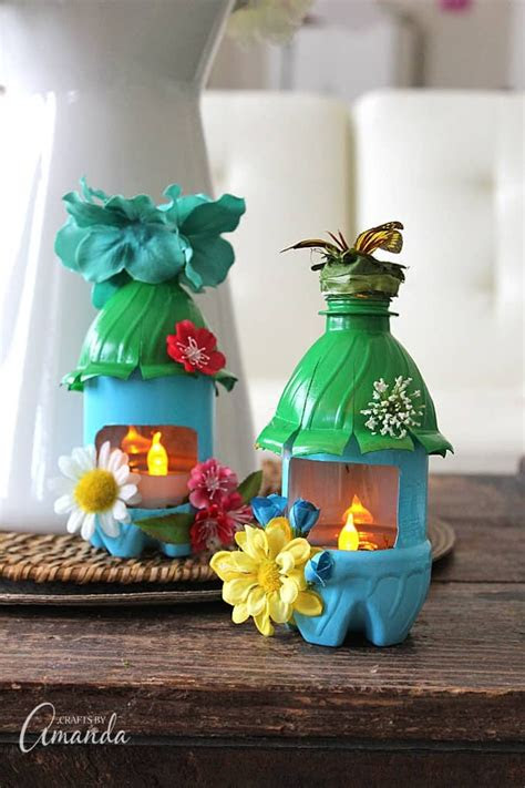 plastic water bottles   painted  decorated