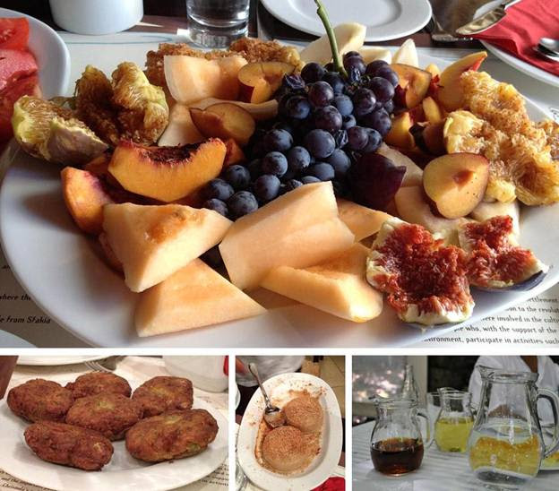 Local fruit platter and other treats from Crete