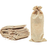 24 Pack Burlap Wine Gift Bags with Jute Drawstring, 13.8 x 6.1 inch Reusable Linen Beige Wine Bottle Wrapping Bag for Anniversary, Wedding, Birthday