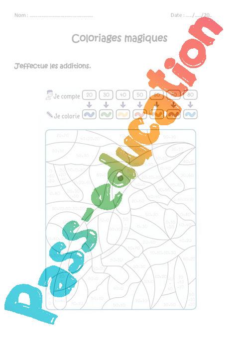 Additionner Des Dizaines Cp Ce1 Coloriage Magique à Imprimer