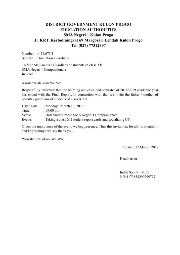 Contoh Undangan Kelulusan Untuk Kepala Sekolah Dalam Bahasa Inggris Dapatkan Contoh