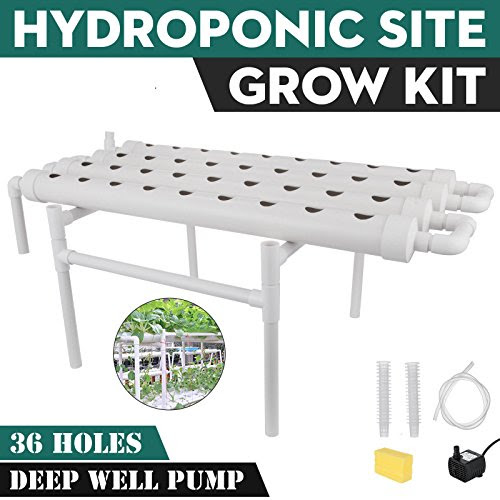 DreamJoy Hydroponic Grow Kit 36 Sites 4 Pipes Hydroponic Planting Equipment Ebb and Flow Deep Water Culture Balcony Garden System Vegetable Tool Grow Kit