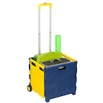Honey-Can-Do CRT-03622 Collapsible Utility Cart with Extendable Handle Blue/Yellow Personal Organizers Wheeled Carts Utility Carts