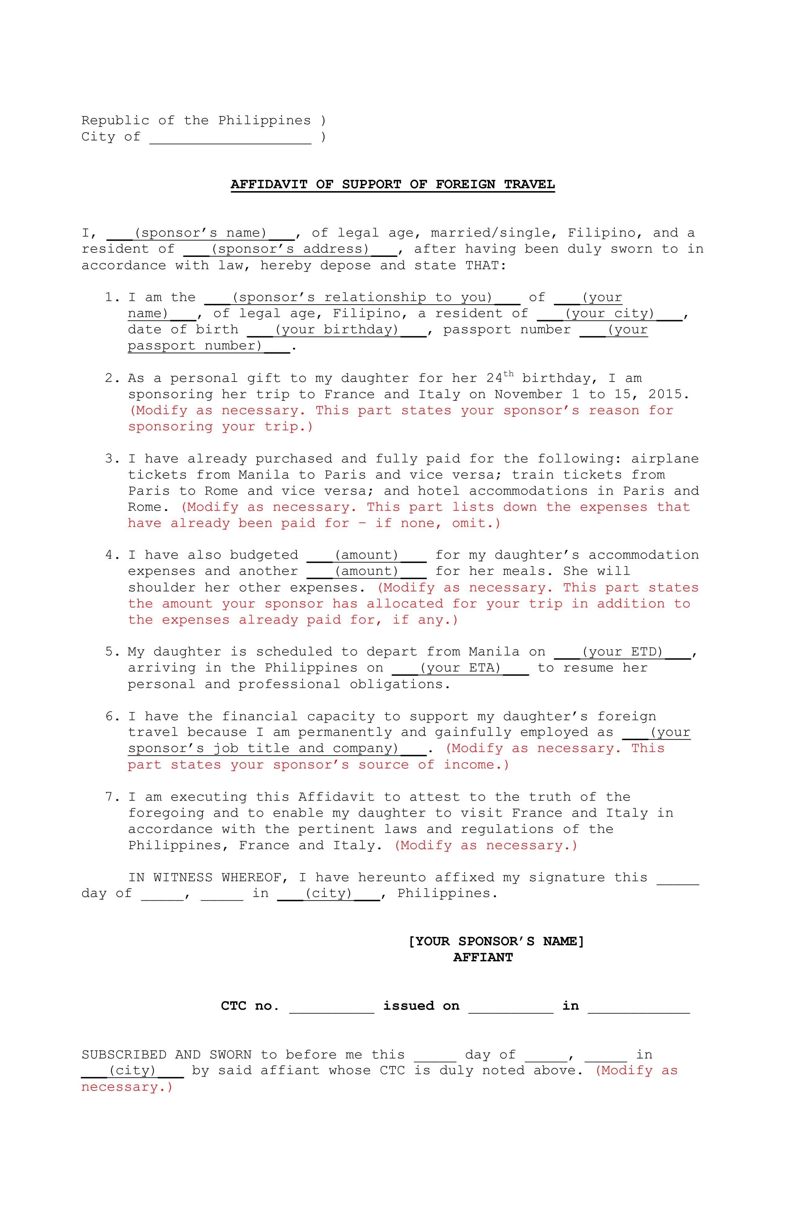 New affidavit form for us visa form us for affidavit visa foreign for of travel sample support affidavit of application visa altavistaventures Choice Image