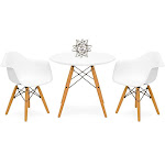 Best Choice Products Kids Eames Style Dining Table Set with 2 Chairs, White