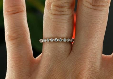 14k White Gold Eternity Diamond Wedding Band, Prong Set