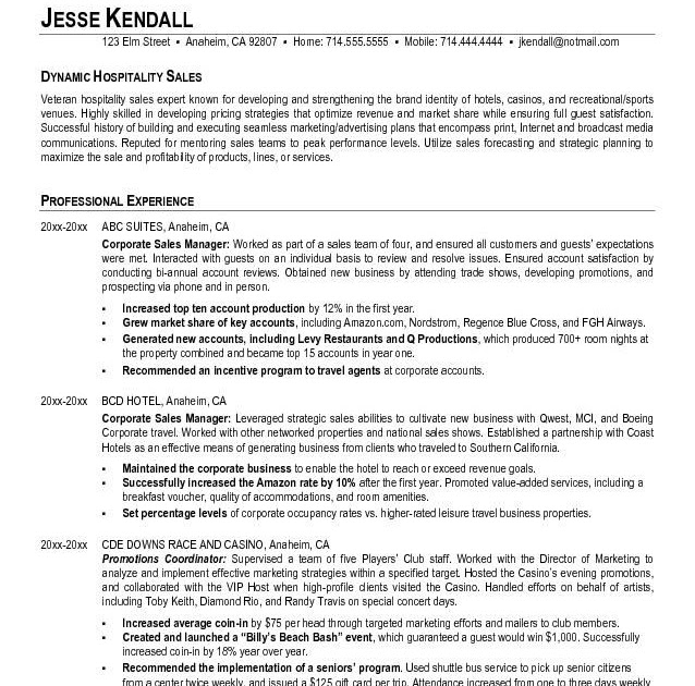 resume template for hospitality industry  resume samples