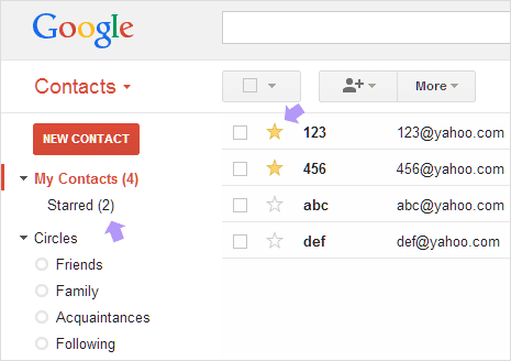 Star important Gmail Contacts to organize better