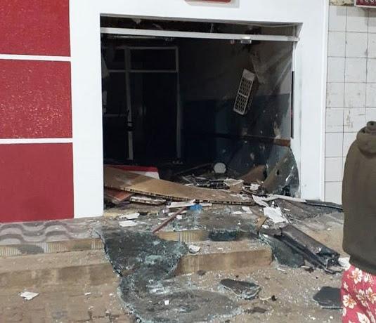 Posto bancário explodido por quadrilha em Mulungu do Morro, no interior da Bahia | Foto: Edivaldo Braga/Blogbraga
