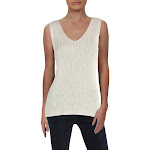 Vince Camuto Womens Metallic Double V Tank Top Sweater Ivory