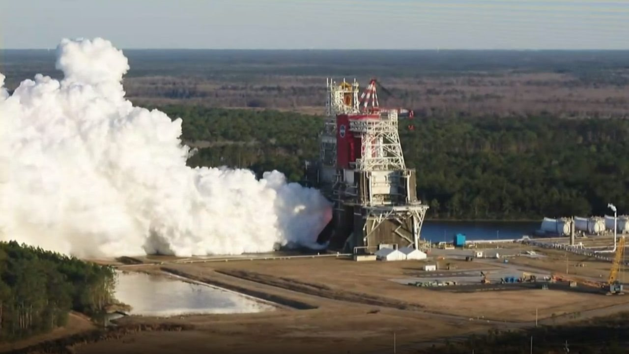The core stage for the first flight of NASA's Space Launch System rocket is seen in the B-2 Test Stand during a hot fire test Jan. 16, 2021, at NASA's Stennis Space Center near Bay St. Louis, Mississippi. Credits: NASA Television