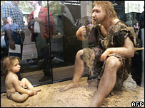 Reconstruction of Neanderthal man and boy (Image: AFP/Getty)