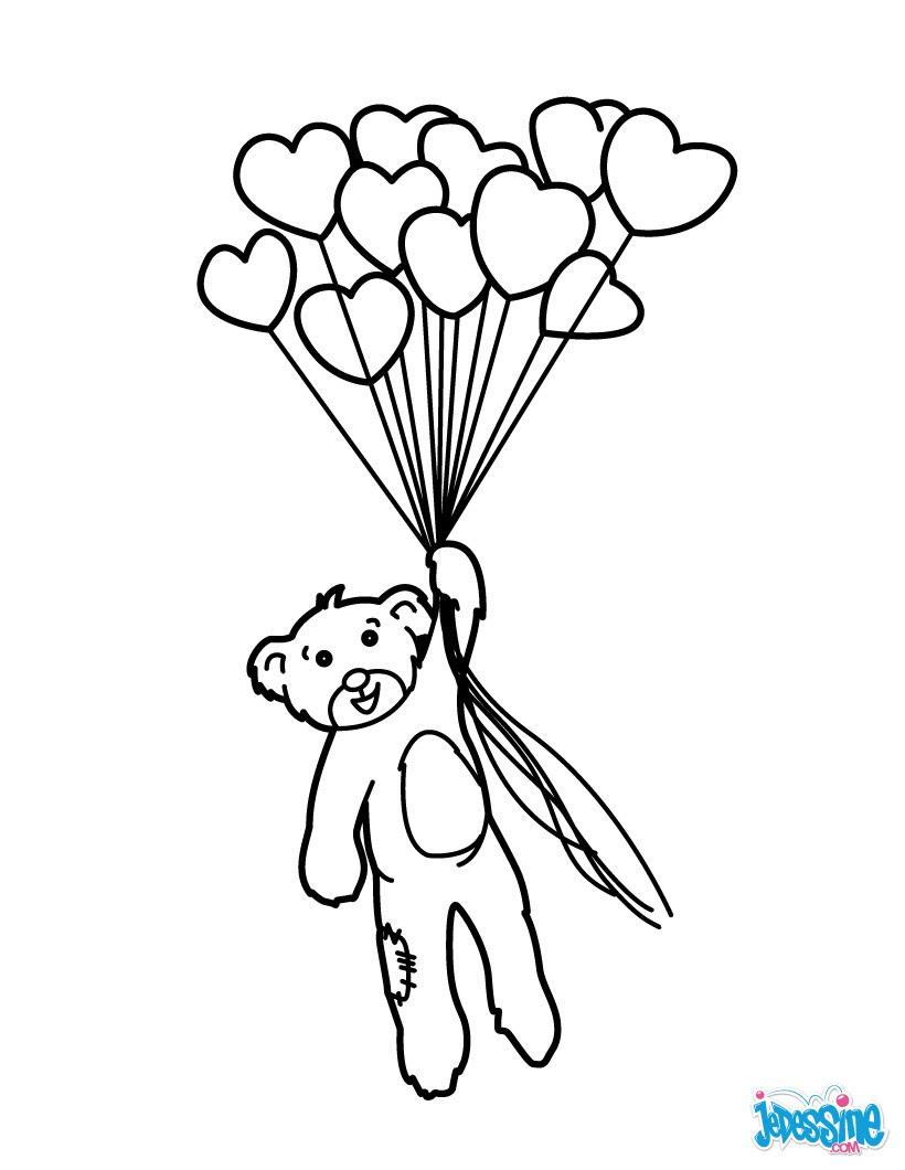 Coloriages Nounours Avec Ballons En Coeur Frhellokidscom