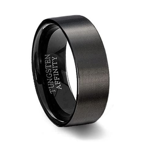 Brushed Black Ceramic Pipe Cut Ring   Men's Black Wedding Ring