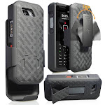 Case with Clip for Sonim XP5s, Nakedcellphone [Black Tread] Kickstand Cover with [Rotating/Ratchet] Belt Hip Holster Combo for Sonim XP5s Phone (