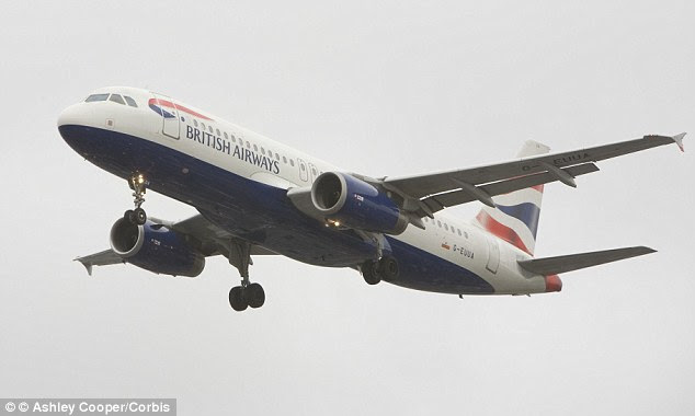 Mid-air molestation: A male passenger was caught groping a woman's breast for five minutes while she slept on a recent British Airways flight from London to San Francisco, police said. (Stock photo)