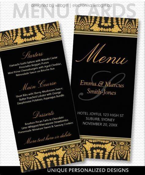 Exotic Black & Gold Tribal Batik Wedding Menu Alternative