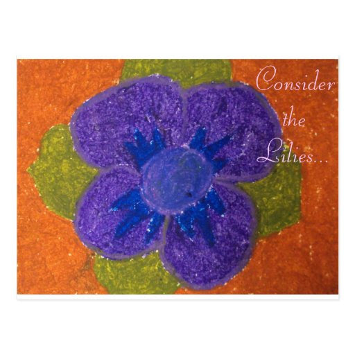 consider the lilies purple & blue flower postcard from Zazzle.com