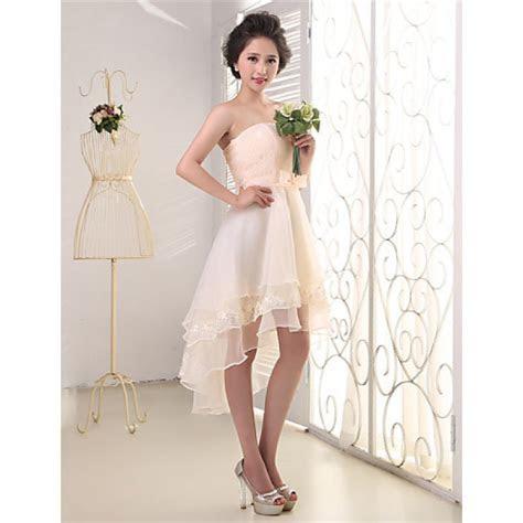 Elegant Strapless High Low Chiffon Bridesmaid Dresses Lace
