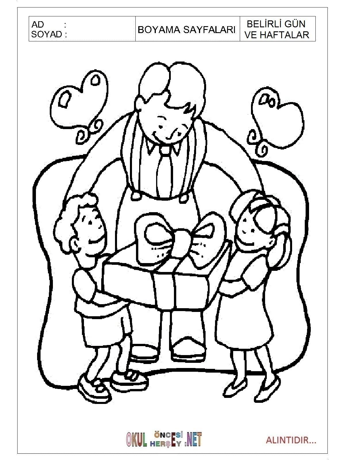 Babalar Günü Boyama Sayfaları