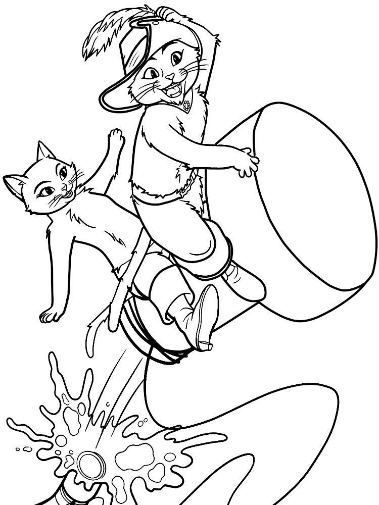 Imprimir Gratis Dibujos Para Colorear El Gato Con Botas