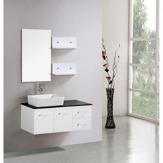 Kokols Floating 36-inch White Cabinet Wall-mount Bathroom Vanity ...