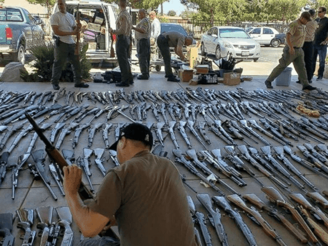 Los Angeles County Sheriff's Department seized 553 guns from a convicted felon in Agua Dulce, Calif., last week.